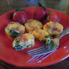 Mini Crustless Bacon, Cheddar, Spinach Quiche