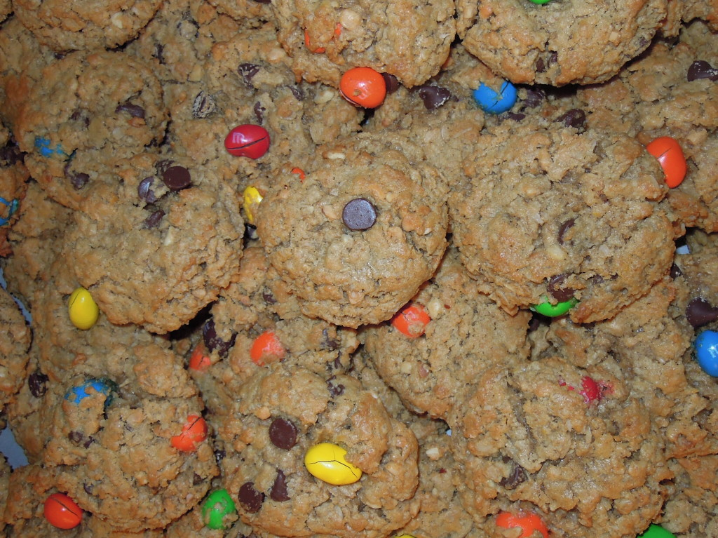 recipe, monster cookie, peanut butter, oatmeal, chocolate chips, M&Ms