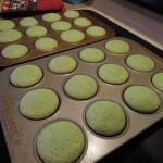 Shamrock Shake Cupcakes in the pan