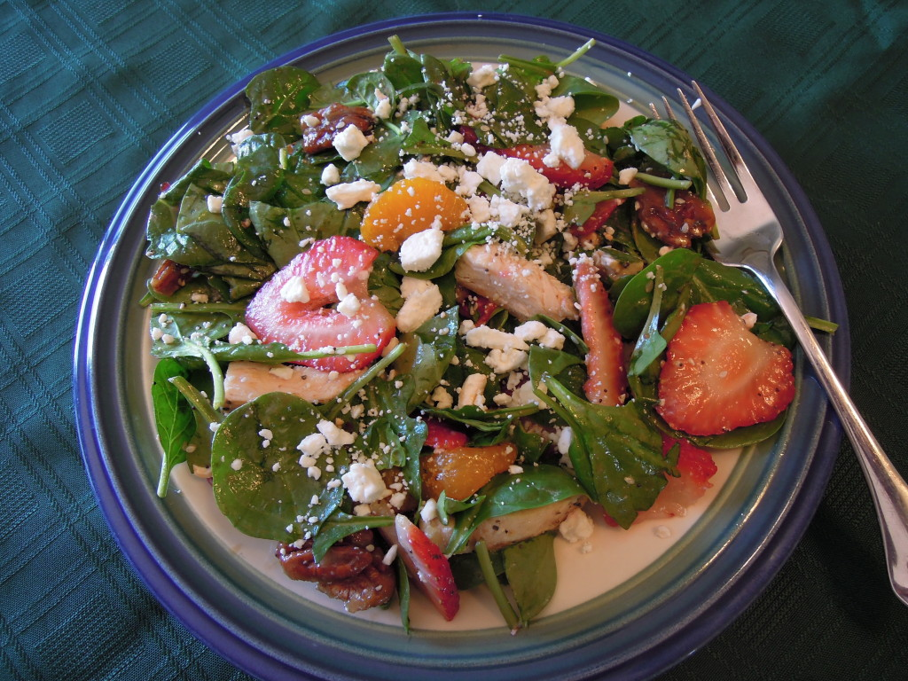 Strawberry Spinach Salad with Caramelized Pecans and Grilled Chicken