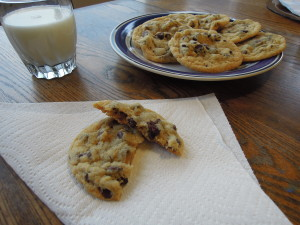 Yum. Cookies and milk.