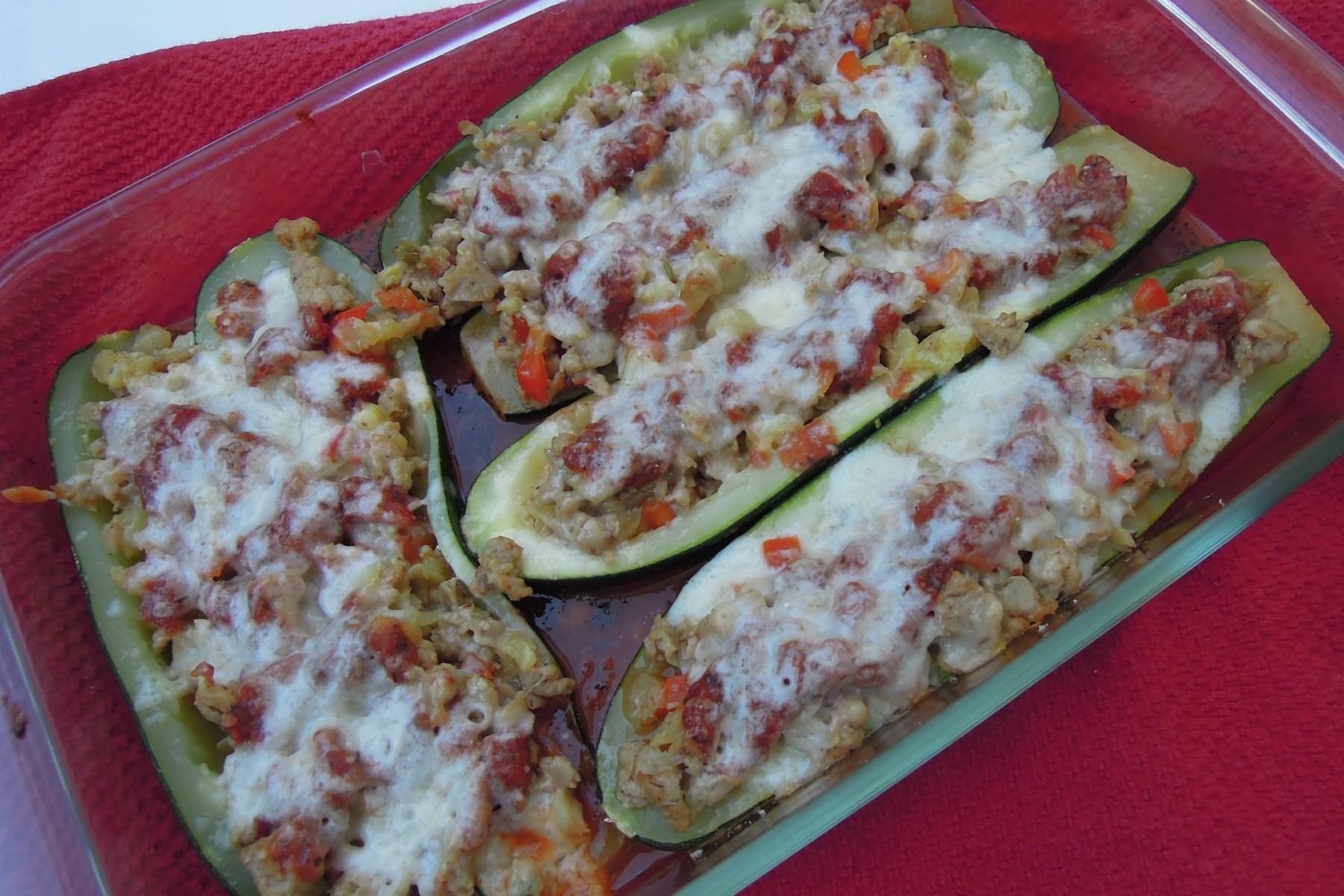 Sausage Stuffed Zucchini Boats Recipe — Dishmaps