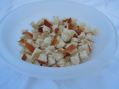 large bowl of bread cubes