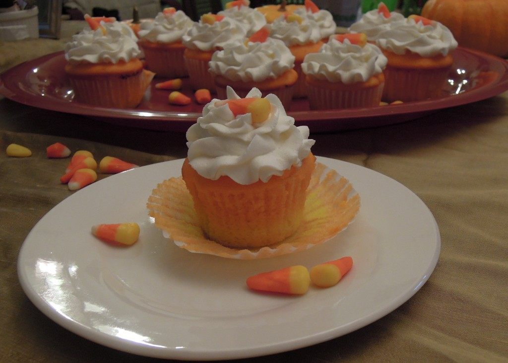 candy corn cupcake up close