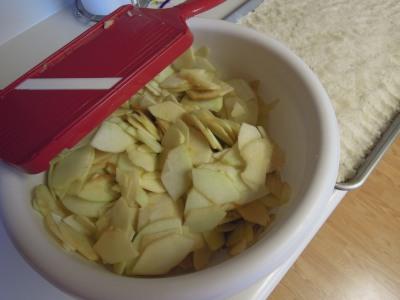 I used my mandolin slicer to slice my apples, but a knife works just fine.