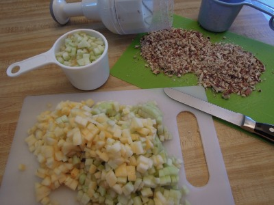 diced apples and chopped pecans