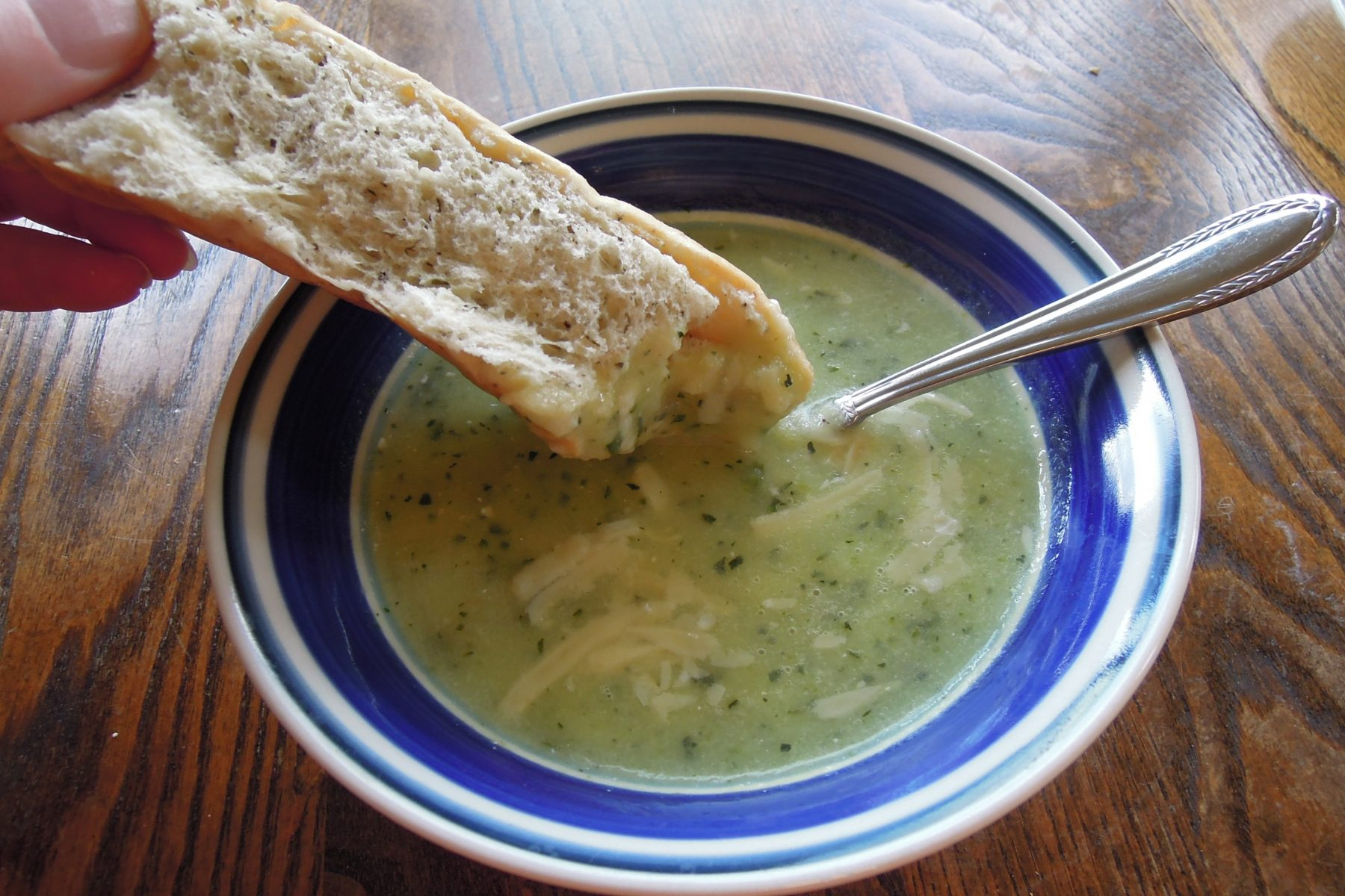 warm soup and bread